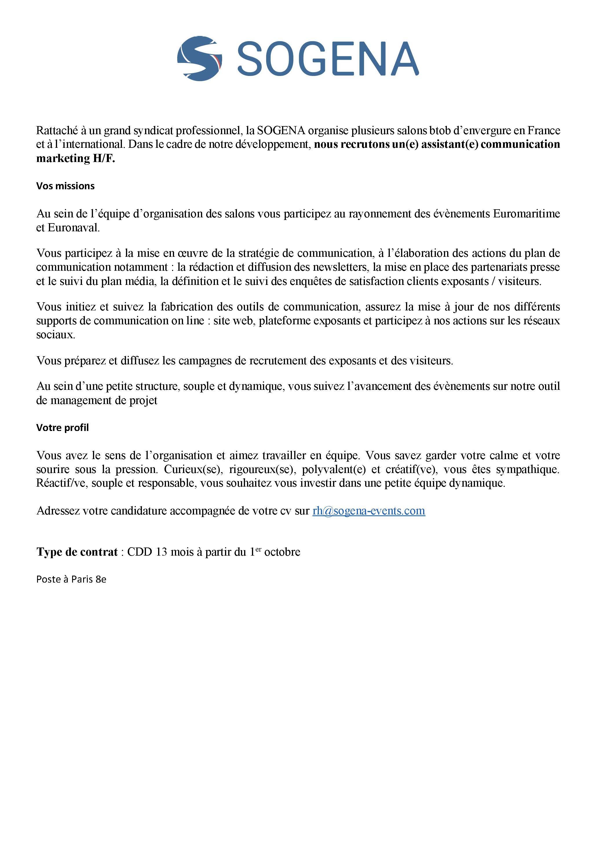 offre emploi - SOGENA assistante communication